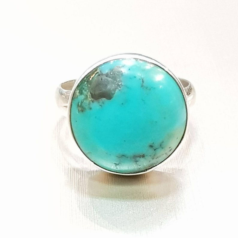 Round stone Ring 925 Silver Ring December Birth Stone Blue Gemstone Ring Sterling silver Turquoise Ring Bezel Ring Cabochon ring