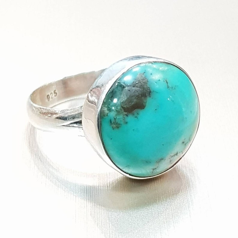 Cabochon ring December Birth Stone Blue Gemstone Ring Sterling silver 925 Silver Ring Round stone Ring Turquoise Ring Bezel Ring