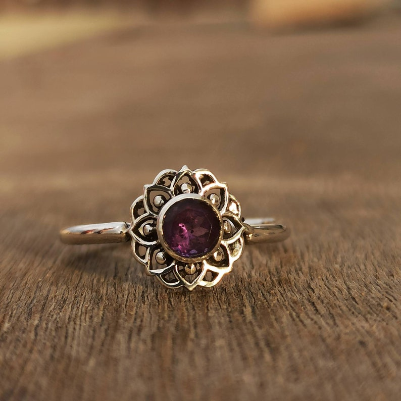 Natural Amethyst Ring Floral Ring Purple Stone Ring 925 image 0
