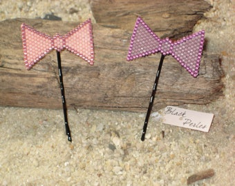 Lot of 2 hairpin little bows pink and violet Miyuki Délicas
