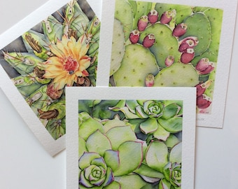 Set of 3 art - 15 x 15 cm - made from my original watercolor painting prints