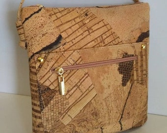 Natural Cork Handbag - Fine Cork Crossbody - Cork Purse - Eco-friendly Shoulder Bag - Gift for Her