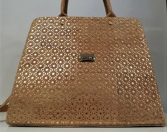 Natural Cork Handbag with Design - Fine Cork Bag - Cork Women Purse - Eco-friendly Shoulder Bag