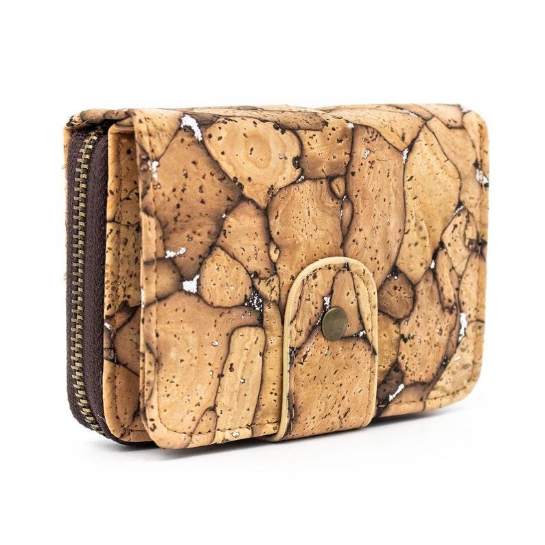 Cork Wallet Vegan Wallet Coin Purse Vegan Leather Cork Fabric image 0