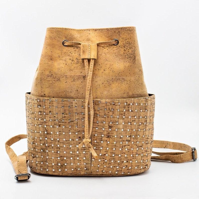Cork Bag Cork Handbag Vegan Leather Purse Cork Fabric Backpack image 0