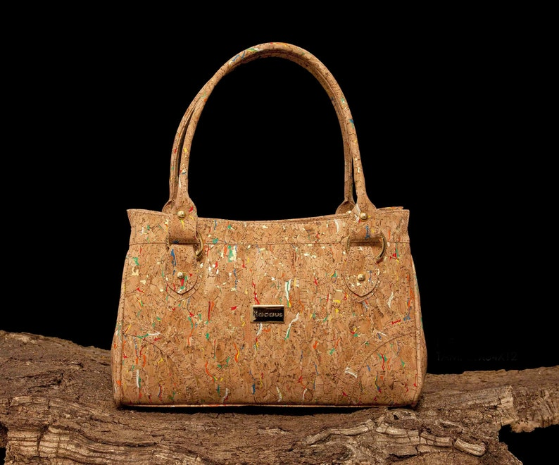Cork Bag Cork Handbag Purse Handmade Tote Vegan Leather With Colors