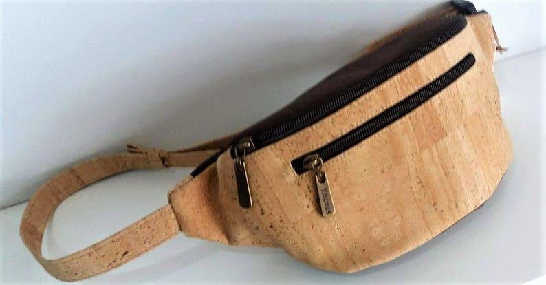 Cork Waist Bag Vegan Bag Cork Fabric Belt Bag Waist Pack Waist Natural with Brown