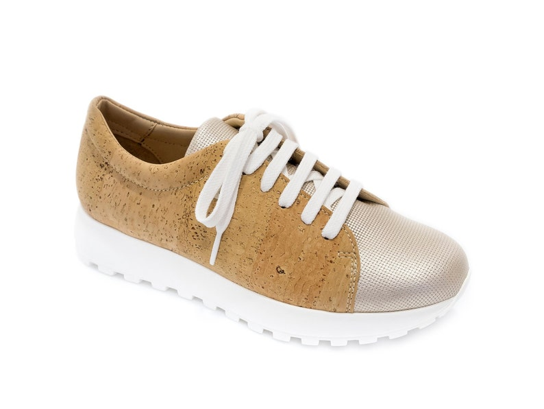 Women Shoes Made with Cork Fabric Leather Loafers Handmade Tie image 0