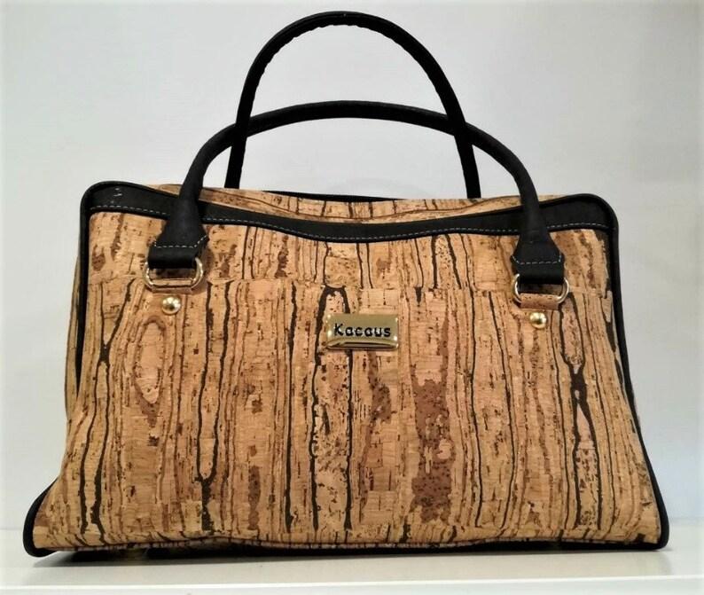 Cork Bag Cork Handbag Vegan Leather Purse Cork Fabric image 0