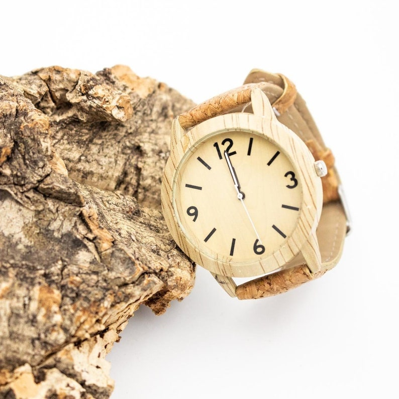 Wooden Watch with Wood Color Face Design Vegan Watch Cork image 0