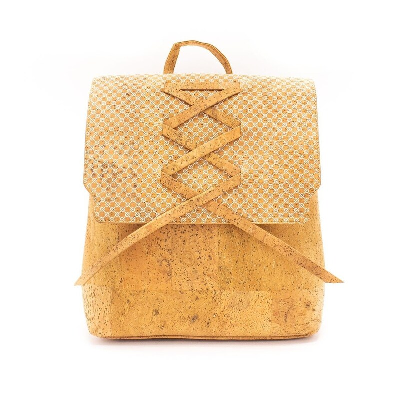 Cork Backpack Cork Handbag Vegan Leather Backpack Purse Cork image 0
