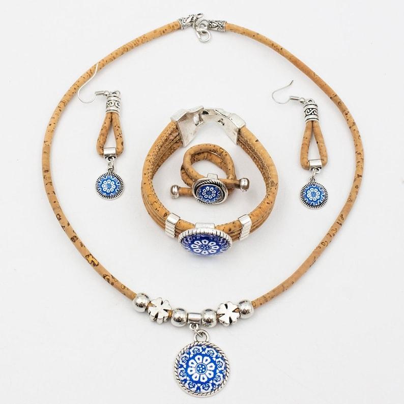 Wooden Jewelry Cork Jewellery Set Ceramic Tile Pattern Wood image 0