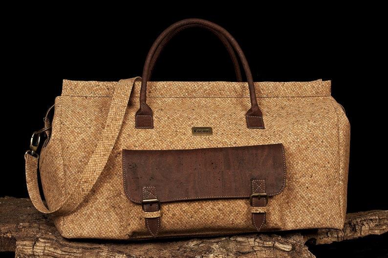 Travel Bag Duffel Bag Cork Bag Cork Handbag Vegan Leather image 0