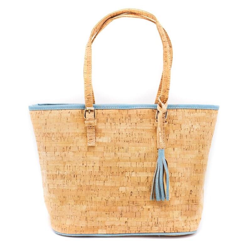 Tote Bag Cork Handbag Vegan Bag Handmade Purse Cork Fabric With Blue