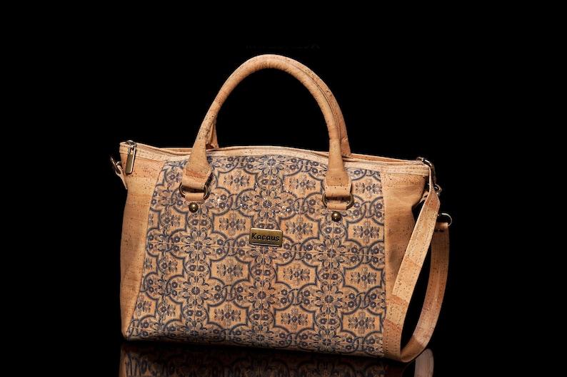 Cork Bag Cork Handbag Vegan Leather Handmade Purse Cork Fabric image 0