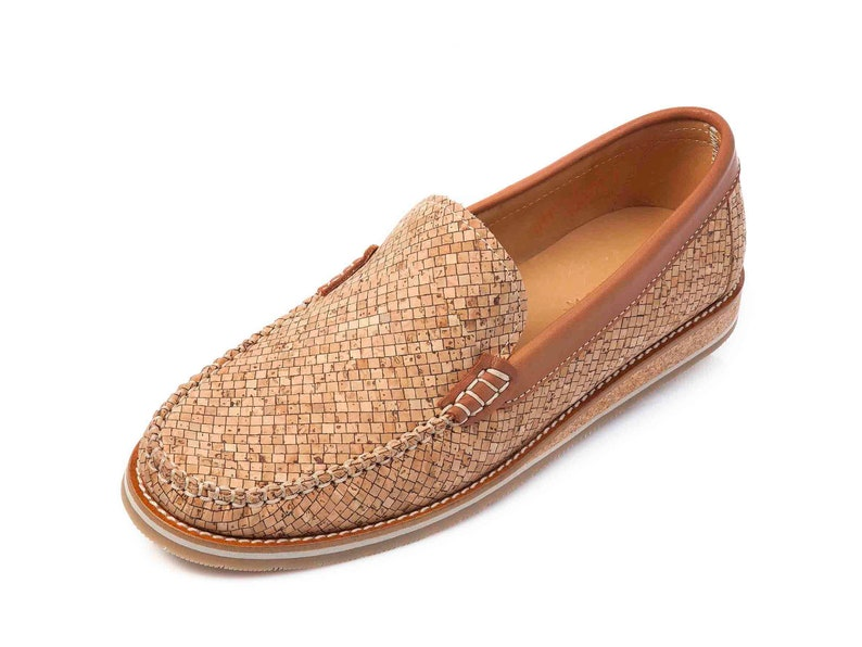 Cork Mens Leather Shoes Loafers Handmade Shoes Gift for Him image 0