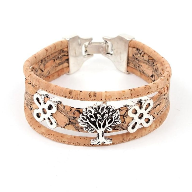 Vegan Bracelet Tree of Life Wooden Jewelry Cork Jewellery Wood image 0