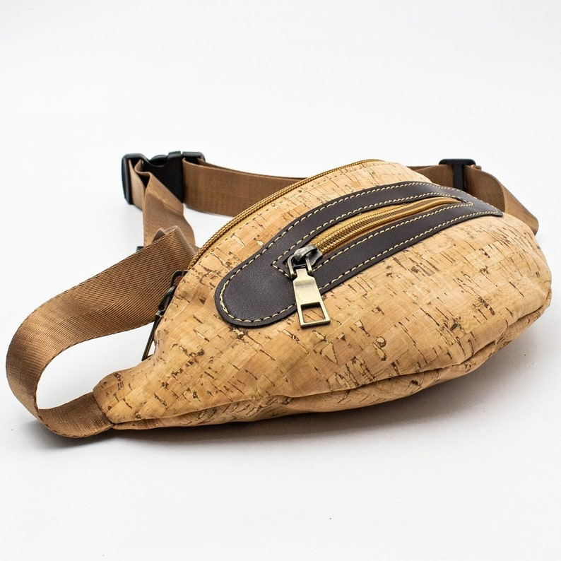 Fanny Pack Cork Waist Bag Cork Fabric Pouch Belt Bag Waist image 0