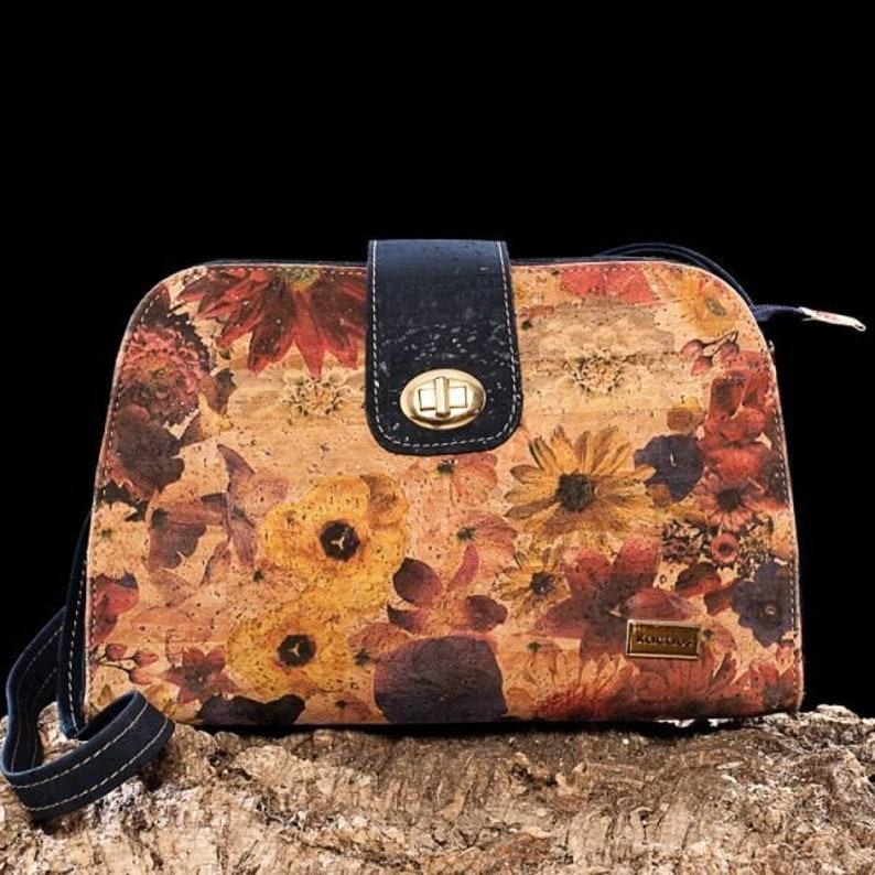 Cork Bag Cork Handbag Vegan Leather Purse Cork Fabric Blue with Flowers