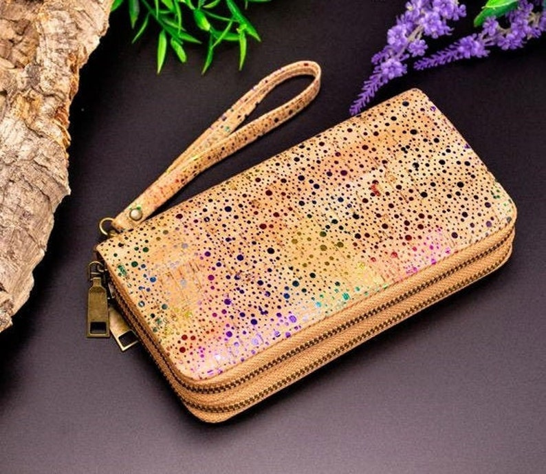 Cork Wallet Vegan Wallet Cork Women Double Zipper Wallet Coin image 0