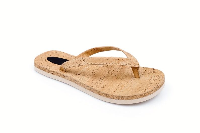 Flip Flops Cork Shoes Thongs Cork Fabric Handmade Sandals image 0