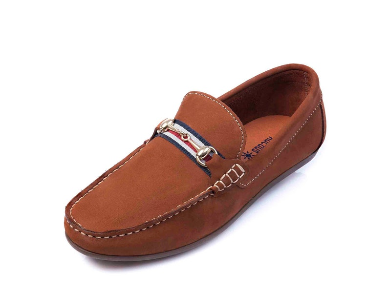 Cork Mens Leather Shoes Loafers Handmade Shoes Gift for Him Brown