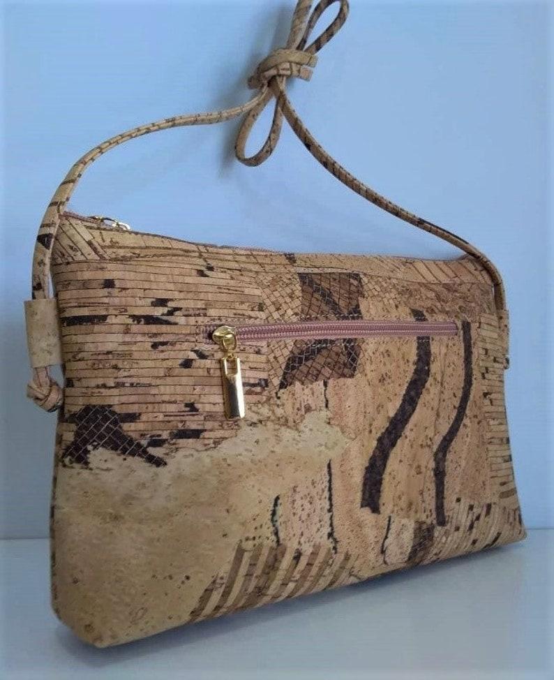 Cork Bag Crossbody Cork Handbag Vegan Leather Purse Cork Zebra