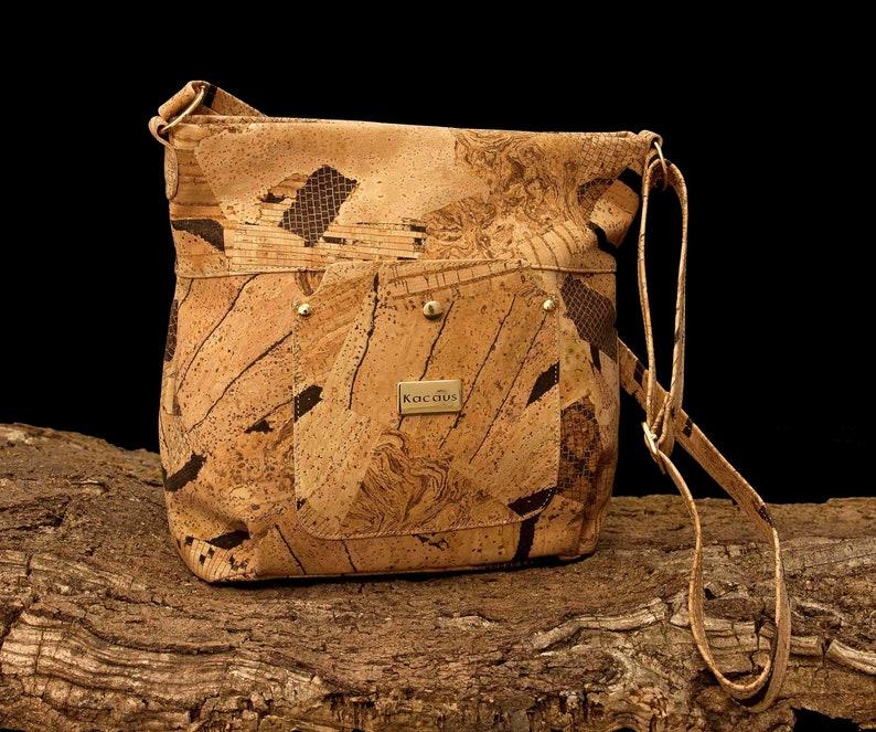 Cork Bag Cork Handbag Vegan Leather Purse Handmade Tote image 0