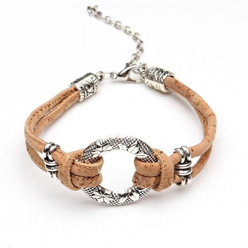 Cork Bracelet Vegan Jewelry Cork Jewellery Wood Bangles image 0