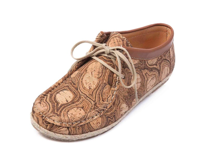 Shoes Cork Fabric Leather Loafers Handmade Womens Tie Shoes image 0