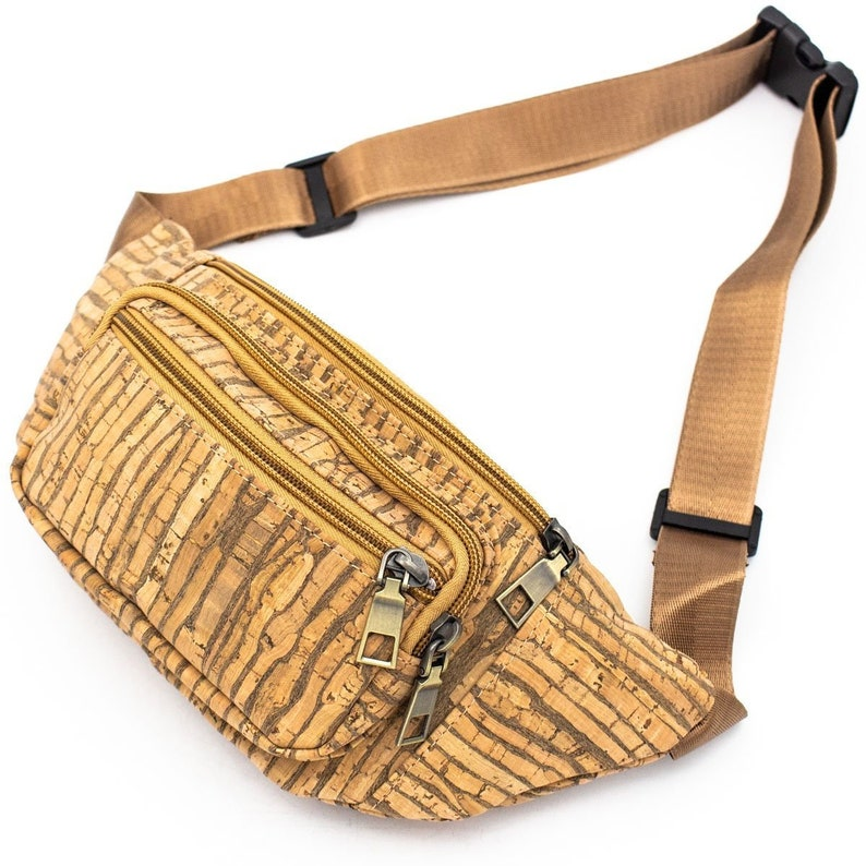 Fanny Pack Cork Waist Travel Bag Vegan Bag Cork Fabric Belt image 0