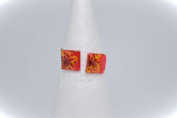 Earrings natural flowers, small size-