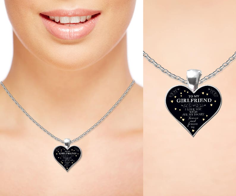Girlfriend Personalised engraved handwritten heart locket valentines day gift