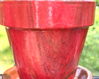 Camellia- Acrylic paint pour on terra cotta pot