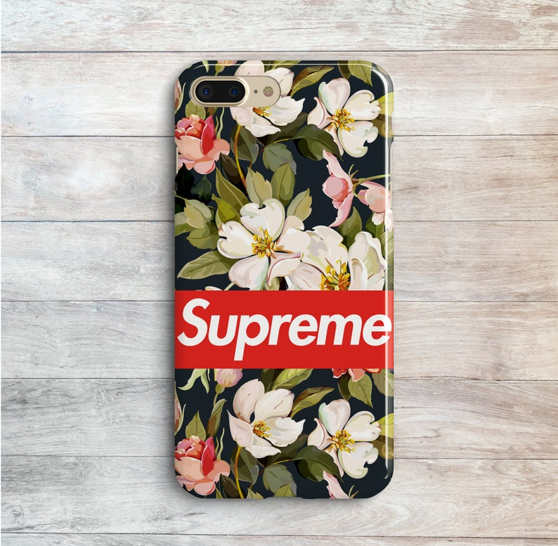 separation shoes 20064 c8a29 Supreme Cases Flowers iPhone XS Max 6s Plus Red Supreme White Flowers  iPhone 8 SE 7 Plus XR 10 Plastic Covers Samsung Galaxy S6 Edge S7 S5
