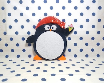 Penguin with ice cream, Felt penguin coasters,Felt coasters, Holiday coastersRecycled felt, Christmas coasters, Winter coasters,
