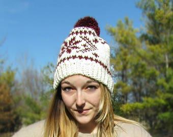 Knit Look Snowflake Hat