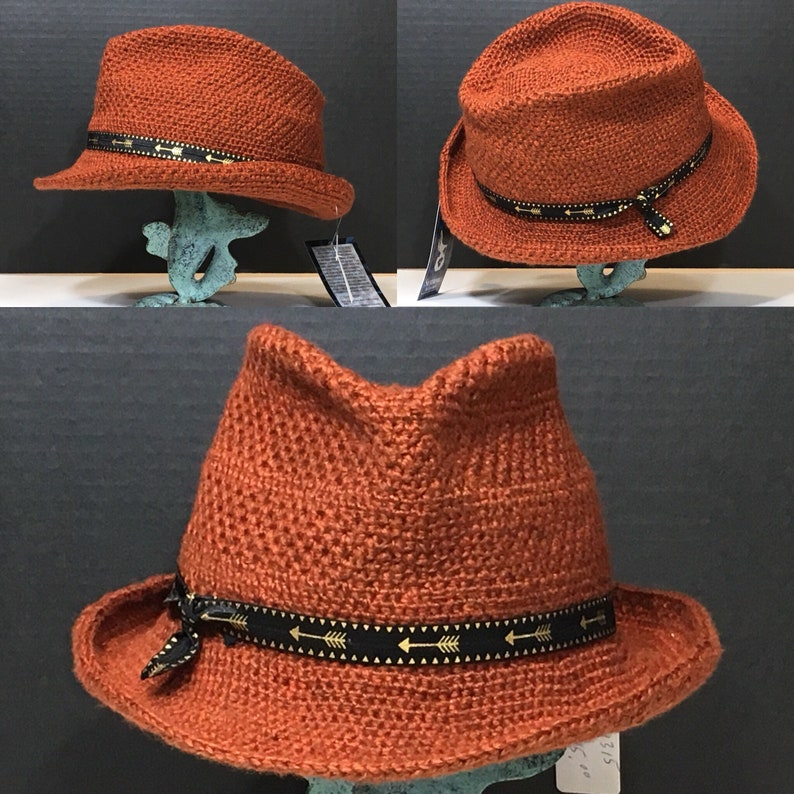 cc70eccea8be9 Rust Colored Trilby Fedora Style Hat with Western Style Band