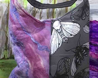 Handmade Butterfly Print and Felted Tote Bag