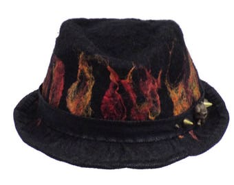 Hand Felted Trilby Fedora Style Hat with Flames
