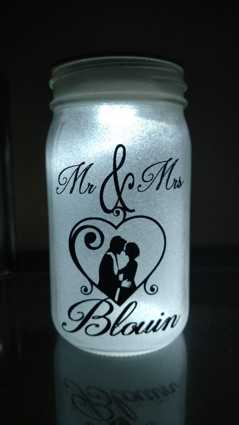 Glittered illuminated   Mr & Mrs  Mason jar image 0