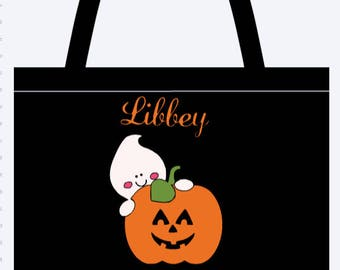 Personalized Pumpkin and ghost Trick or Treat Tote