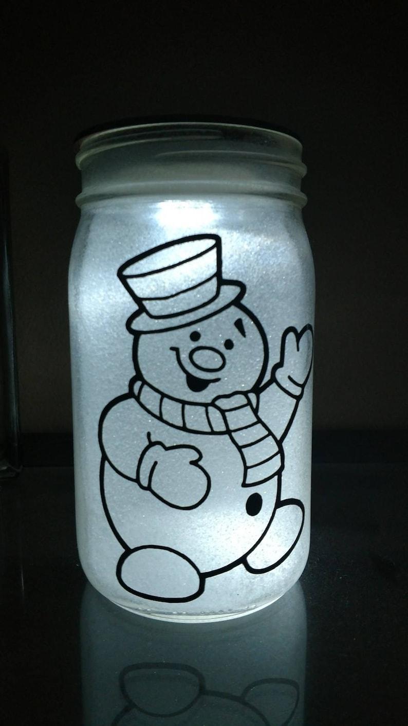 Glittered illuminated Frosty  Mason Jar image 0