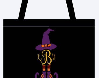 Monogram witch trick or treat tote