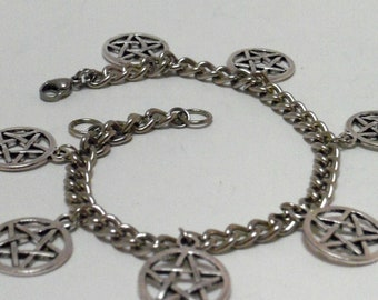 Pentacle Charm, Steel Chain Bracelet, Curb Chain, Pentagram, Adjustable, Lobster Claw Clasp, stainless steel