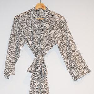 Hand Block Printed Bathrobe Short Kimono Dressing Gown Pink Etsy