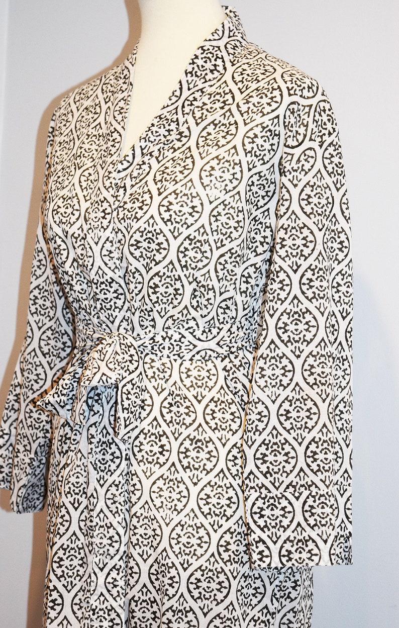 Lightweight Cotton Long Cotton Kimono Hand Block Printed Bathrobe Coverup India Wood Block Dressing Gown Wrap Dress Black and White