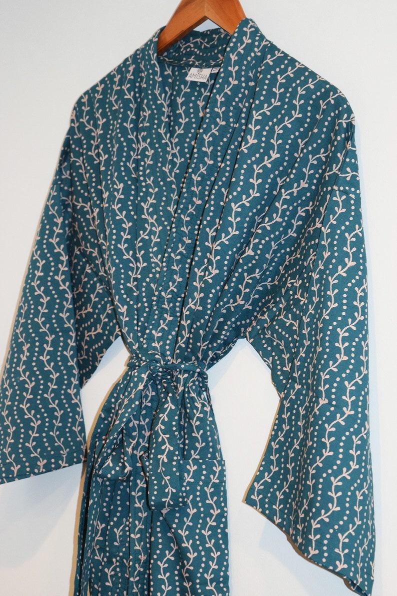 1d64db782d Hand Block Printed Bathrobe Kimono Robe Dressing Gown Wood