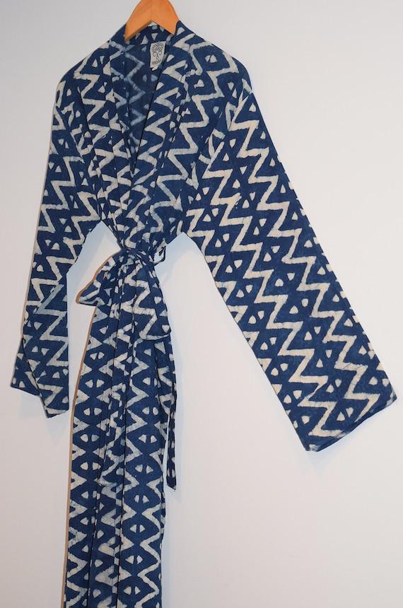 6a65ebef9a Hand Block Printed Bathrobe Long Kimono Dressing Gown Wood