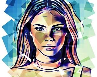 Cara Delevingne Pop Art Edit Drawing Vibrant PRINT Wall Art Illustration Model Fan Hand Drawn Photoshop Portrait Poster #CARA_SQAURES2